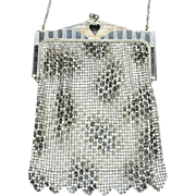 REDUCED HUGE REDUCTION  Art Deco Whiting and Davis Enamel Mesh Purse