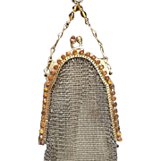 Dazzling Marked Whiting and Davis Amber Stone Frame Mesh Purse