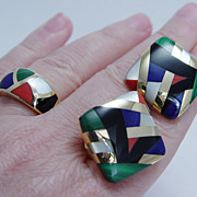 Designer Jewelry Asch Grossbardt Inlaid Gemstones Ring Earrings Set  Estate