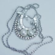 Estate Jewelry 18K White Gold Pearl 1.95cts Diamond Pendant Necklace