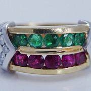 Estate Jewelry 18K Yellow Gold Genuine Ruby Emerald Diamond Band Ring 12.9 gr