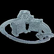 Estate Jewelry 14K White Gold 3.33ct Diamond Screw Earrings Necklace Pendant Set
