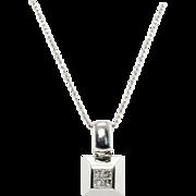 Designer Signed Jewelry Spark 950 Platinum Diamond Pendant with 14K Gold Chain