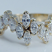 Estate Jewelry 18K Yellow Gold VVS1/FG 2.30ct Marquise Diamonds Band Ring