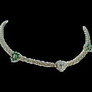 Designer Gucci 18K Yellow Gold Diamond Emerald Heart Necklace Choker 36.6 gr
