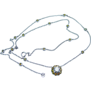 1.22ct Canary and White Diamonds by Yard 14K Gold Necklace 17.5 inches