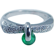 Estate Jewelry Unusual 14K White Gold Emerald Diamond Band Ring