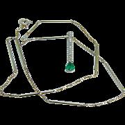 Vintage Jewelry 14K Yellow Gold Emerald Diamonds Bar Pendant Necklace w Chain