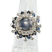 Vintage Jewelry Platinum Star Sapphire Diamonds Cocktail Ring Spectacular
