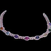 Estate 18K Rose Gold Fluted Carved Gemstones .70ct Diamonds Necklace Choker