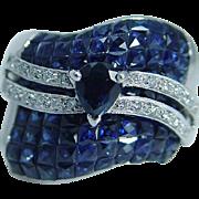 Designer JCR John C Rinker 14K White Gold Sapphires Diamonds Wide Ring Signed