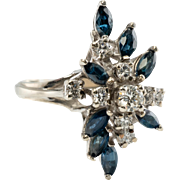 Vintage 14K White Gold Sapphires Diamonds Cluster Cocktail Ring Jewelry