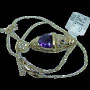 Estate $3500 Amethyst Diamonds 18K Yellow Gold Fish Pendant Chain Necklace