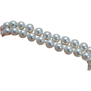 """Vintage Mikimoto 14K White Gold Clasp 16.5"""" 7mm AA White Cultured Pearls Necklace"""