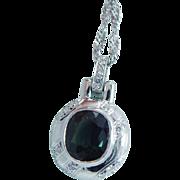 Estate Platinum Green Tourmaline Diamond Pendant 14K White Gold Chain Necklace