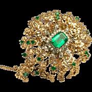 Vintage Huge 14K Yellow Gold 2.60ct Emeralds .70ct Diamonds Brooch Pendant Pin