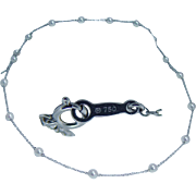 Vintage Mikimoto 18K White Gold Akoya Cultured Pearl by Yard Necklace Bracelet Set