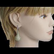 Vintage Estate 18K Black Gold Yellow Sapphires White Diamonds Dangle Pear Shape Earrings