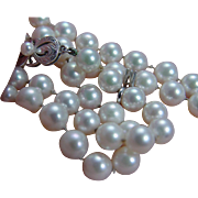 """Vintage Mikimoto 18K White Gold Clasp 6.5-7mm AA Pearls 20"""" Necklace with Charm"""