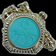 Estate 18K Yellow Gold Turquoise Birds Diamonds Choker Necklace