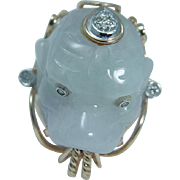 Estate 14K Yellow Gold Jade Dragon Head Diamonds Large Ring