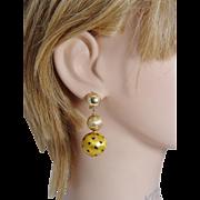 Vintage Italian 18K Yellow Gold Enamel LOTO Bracelet Earrings Set 43.7 grams