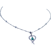 Vintage Platinum Emerald Diamond Heart Pendant with Diamonds by Yard Necklace