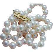 """Vintage Mikimoto 18K Yellow Gold Clasp 6-6.5mm Cultured Pearl Necklace 19"""" Long"""