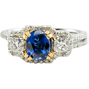 18K White Gold 1.00ct Sapphire .74ct Diamonds Band Ring Estate Jewelry