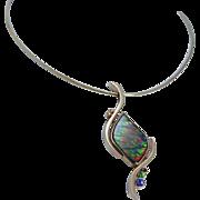 14K Yellow Gold hallmarked RCI Ammolite and Gemstones Pendant Chain Necklace