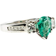 Estate 14K White Gold .70ct Pear High Quality Emerald Diamonds Band Ring
