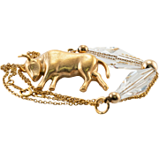 18K Yellow Gold Bull Pendant with Swarovski Crystals and 14K Chain Necklace