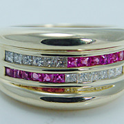 Estate Jewelry High Quality Rubies Diamonds 18K Yellow Gold Ring Wide Band