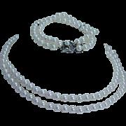 "Vintage Mikimoto 5.5x6mm Cultured Pearls Doubled 15"" Necklace Bracelet Set Sterling Clasp"