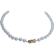"""Vintage Mikimoto 18K Yellow Gold Clasp 8.5-9mm A+ Cultured Pearls 18"""" Necklace"""