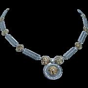 """Estate 18K White Yellow Gold Medusa Head Diamonds Necklace 17"""""""
