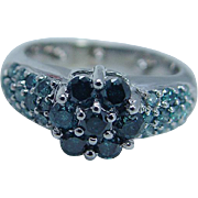 10K White Gold .47ct Blue Diamonds Ring with guard balls Estate Jewelry