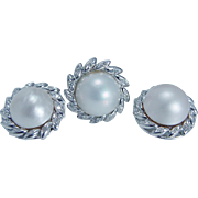 18K White Gold Mabe Cultured Pearl .78ct Diamonds Clips Earrings and Ring Set Estate Jewelry
