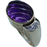 14K Yellow Gold Carved Fluted Amethyst Diamonds Ring Vintage Jewelry