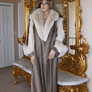 SALE PENDING $5000~DESIGNERS LTD.~M/L~Amazing Vintage Nutria/Shadow Fox Full Length Fur Coat