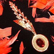 "WHITING & DAVIS~Amazing Vintage 5"" Goldtone Ruby Red Rhinestone/Crystal Brooch"