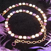 TRIFARI~Amazing Vintage Violet/Purple/Clear Rhinestone/Crystal Necklace