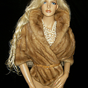 SOLD RICHLAND FURS~Stunning Vintage Autumn Haze Plush Mink Fur Cape Stole Wrap Coat