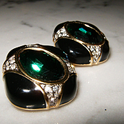 SWAROVSKI~SWAN Signed~Stunning Vintage Black/Gold/Emerald Green Crystal Clip Earrings