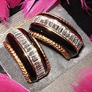 SWAROVSKI~Signed S.A.L. Vintage Black/Gold/Crystal Runway Statement Clip Earrings