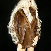 SOLD YUE HWA~Sz P/M~Amazing Vintage Mahogany/Ranch Mink Fur Coat/Jacket/Chevron Style Sleeves