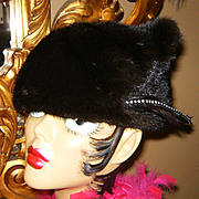 BOUTIQUE~Amazing Vintage Mahogany/Ranch/Brown Mink Fur Rhinestone Feather Hat