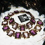 $700~Signed SWAROVSKI~Purple Faceted Open Back Bezel Set Crystal Statement Necklace