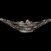 """COFRAC ART VERRIER FRANCE~HUGE VINTAGE 23"""" CRYSTAL CLEAR CHALET ART GLASS VASE/BOWL/CENTE"""