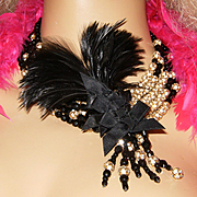 JAY FEINBERG~Vintage Black Crystal/Rhinestone Ball Feather Statement Necklace